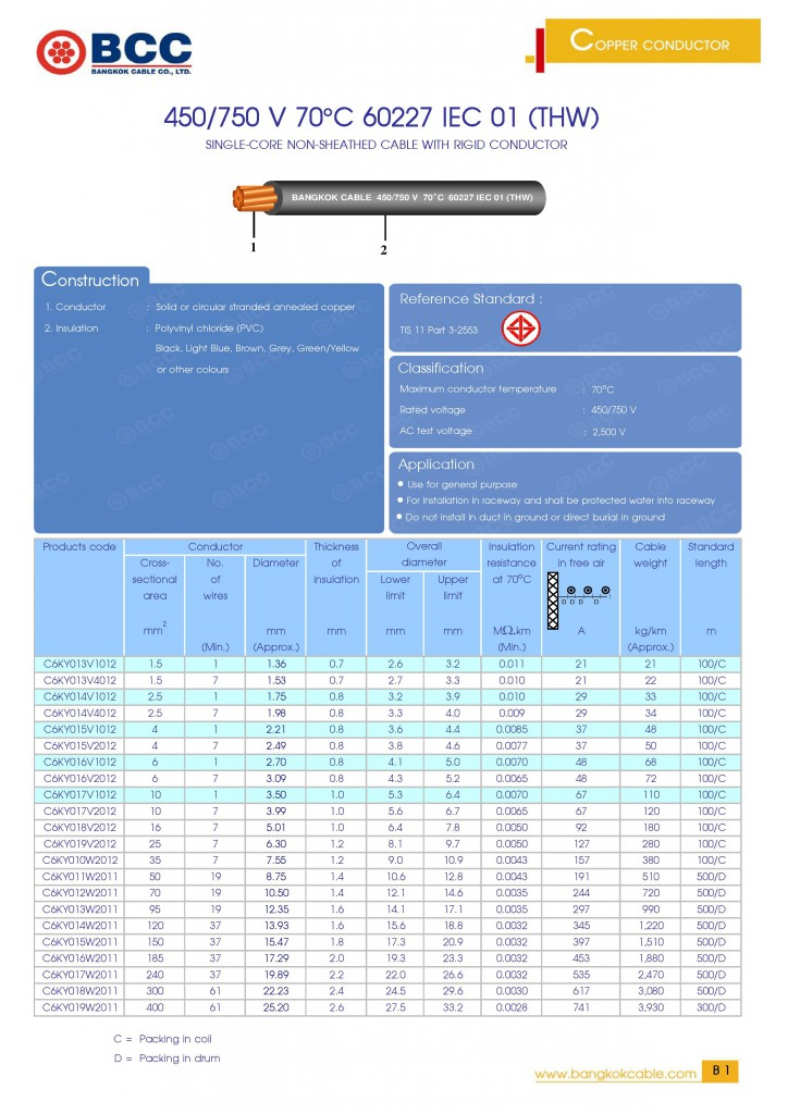 BCC 450!750V 70C 60227 IEC 01 (THW)